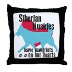 Husky Pawprints Throw Pillow