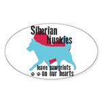 Husky Pawprints Sticker (Oval 10 pk)