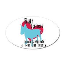 Bull Terrier Pawprints 22x14 Oval Wall Peel