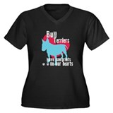 Bull Terrier Pawprints Women's Plus Size V-Neck Da