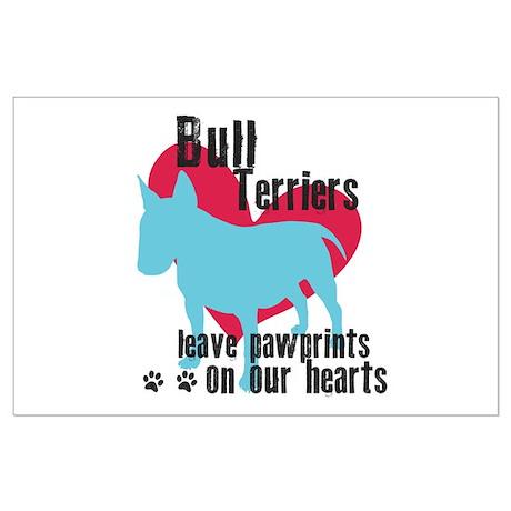 Bull Terrier Pawprints Large Poster