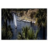 High angle view of a sailboat in a river, Nile Riv