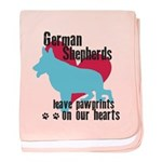 German Shepherd Pawprints baby blanket
