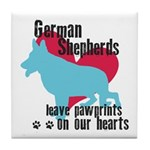 German Shepherd Pawprints Tile Coaster