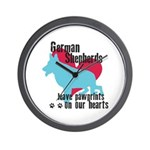 German Shepherd Pawprints Wall Clock