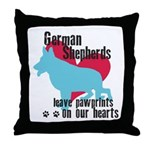 German Shepherd Pawprints Throw Pillow