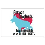 German Shepherd Pawprints Large Poster