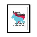 German Shepherd Pawprints Framed Panel Print