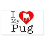 I Love My Pug Sticker (Rectangle)
