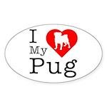 I Love My Pug Sticker (Oval 10 pk)