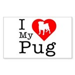 I Love My Pug Sticker (Rectangle 10 pk)