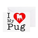 I Love My Pug Greeting Cards (Pk of 20)