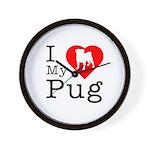 I Love My Pug Wall Clock
