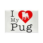 I Love My Pug Rectangle Magnet (10 pack)