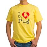 I Love My Pug Yellow T-Shirt