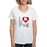 I Love My Pug Women's V-Neck T-Shirt