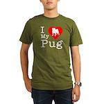 I Love My Pug Organic Men's T-Shirt (dark)