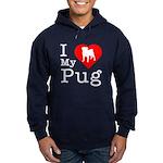 I Love My Pug Hoodie (dark)