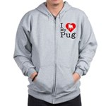 I Love My Pug Zip Hoodie