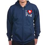 I Love My Pug Zip Hoodie (dark)