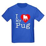 I Love My Pug Kids Dark T-Shirt