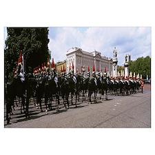 British royal guards horseback riding in front of