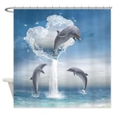 The Heart Of The Dolphins Shower Curtain