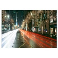 Blurred Motion Of Cars Along Michigan Avenue Illum