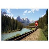 Train on a railroad track, Morants Curve, Banff Na