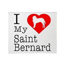 I Love My Saint Bernard Throw Blanket