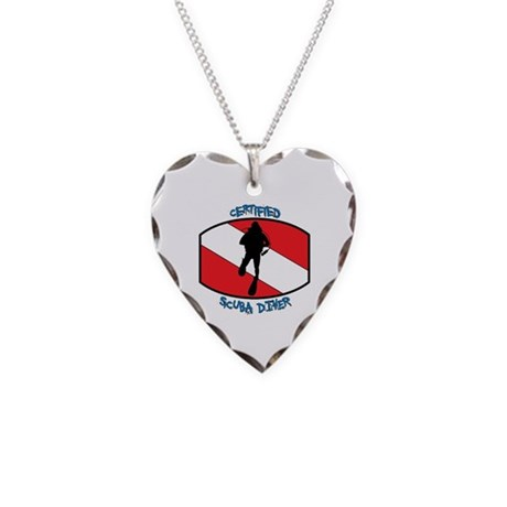Certified Scuba Diver Necklace Heart Charm