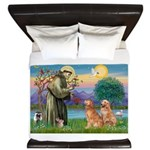 St Francis - Two Goldens King Duvet