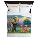 St Francis - Two Goldens Queen Duvet