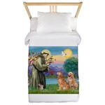 St Francis - Two Goldens Twin Duvet