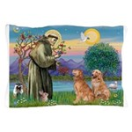 St Francis - Two Goldens Pillow Case