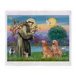 St Francis - Two Goldens Throw Blanket