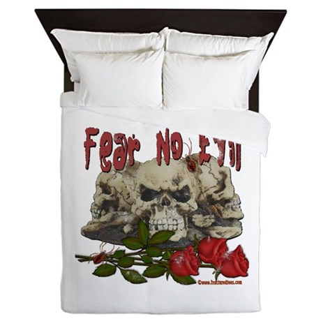 Fear No Evil Skull and Rose Queen Duvet