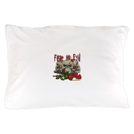 Fear No Evil Skull and Rose Pillow Case
