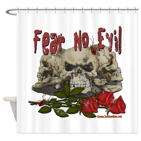 Fear No Evil Skull and Rose Shower Curtain