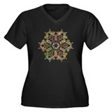 Moose Snowflake Women's Plus Size V-Neck Dark T-Sh