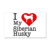 I Love My Siberian Husky Car Magnet 20 x 12