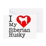I Love My Siberian Husky Greeting Card