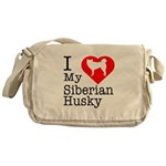 I Love My Siberian Husky Messenger Bag