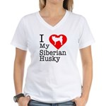 I Love My Siberian Husky Women's V-Neck T-Shirt