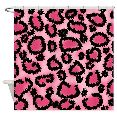 Pink animal print pattern shower curtain by metarla for Zebra print and red bathroom ideas