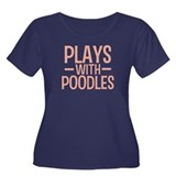 PLAYS Poodles Women's Plus Size Scoop Neck Dark T-