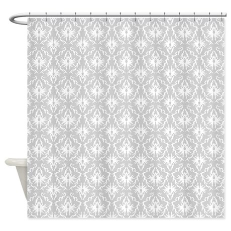 Gray Damask Pattern Shower Curtain By Metarla