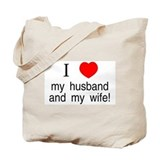 I &lt;3 my husband &amp; my wife Tote Bag