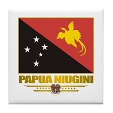 """Papua New Guinea Flag"" Tile Coaster"