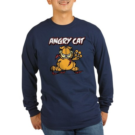 ANGRY CAT Long Sleeve Dark T-Shirt